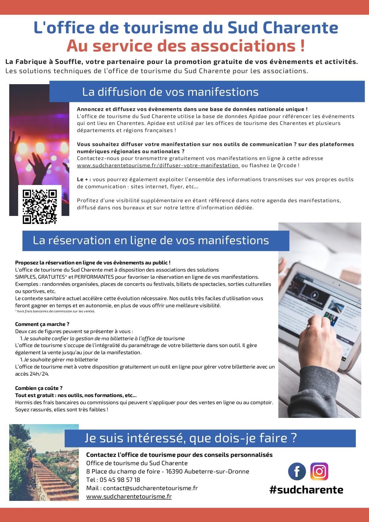 La Fabrique à Souffle, votre partenaire pour la promotion gratuite de vos évènements et activités. Les solutions techniques de l'office de tourisme du Sud Charente pour les associations. Annoncez et diffusez vos évènements dans une base de données nationale unique !